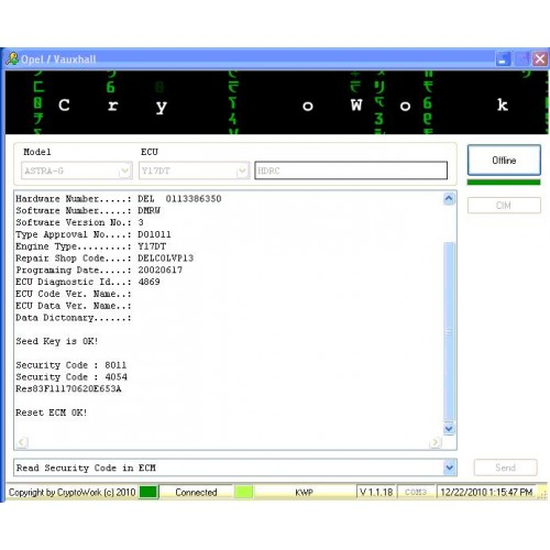OPEL & VAUXHALL Security Code Reading Software & Coding Cable